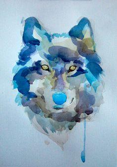 урок рисования акварелью - «Волк» (этап №4)