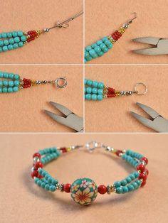 Pandahall Free Tutorial - How to Make a Charming Multi-strand Beaded Ethnic Bracelet (8)