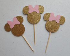 pink and gold minnie mouse cupcake toppers * pink and gold first birthday * pink and gold minnie mouse * pink and gold minnie mouse birthday by declanandsmith on Etsy Minnie Mouse Cupcake Toppers, Minnie Cupcakes, Minnie Mouse Party Decorations, Minnie Mouse Birthday Outfit, Red Minnie Mouse, Minnie Mouse Silhouette, Elephant Diaper Cakes, Gold First Birthday, 4th Birthday