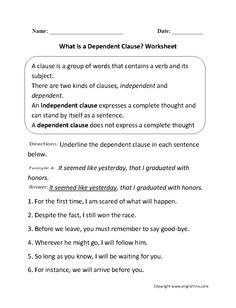 what is a dependent clause worksheet - Independent And Dependent Clauses Worksheet