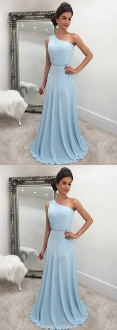 Blue Prom Dresses, Long Prom Dresses, 2018 Prom Dresses For Teens, Chiffon Prom Dresses One Shoulder, A-line Prom Dresses For Cheap #bluedress #teens #prom