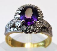 18ct Yellow Gold and Palladium Vintage Amethyst and Diamond ring