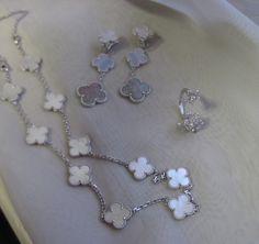 Van Cleef & Arpels Vintage Alhambra WG 10 motif mop necklace, Socrate btf ring, 3 motif Magic earrings.