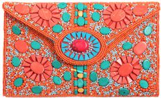 sac envelope en perles orange, turquoise, rouge