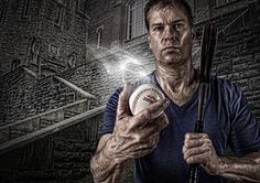 Editorial portrait/montage about the sport of baseball in an edgy/ethereal setting with a man holding a ball and bat in front of a stone building. – / for , , or markets. Photo Illustration, Editorial, Digital Art, Composition, Building Photography, Montages, Baseball, Portrait, Ethereal