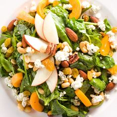 Spinach, Nuts and Fruit Salad style from Chef Jay's kitchen only on Qulinary! Fresh tossed spinach in our unique pomegranate honey vinaigrette with blue cheese, fresh fruits, and mixed nuts Fruit Salad, Cobb Salad, Canned Peaches, Mixed Nuts, How To Make Salad, Blue Cheese, Fresh Fruit, Feta, Salads