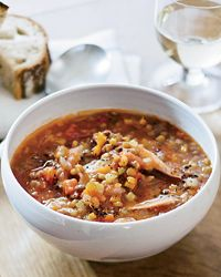 Lentil Soup w/ Smoked Turkey. The Parmesan rind trick has added tons to all of my subsequent soup makings-- great tip!