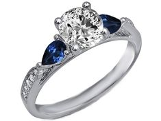 Cathedral Diamond Engagement Ring Blue Sapphire Pear Shape side stones in 14K White Gold
