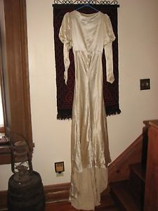 1930s candlelight silk wedding gown with mutton sleeves and Deco crown veil. (one of mine, selling)