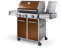 "WEBER E330 -Genesis E-330 Copper 6532001  60"" Freestanding Gas Grill with 637 sq. in. Cooking Area, 3 Stainless Steel Burners, Warming Rack, Sear Station, Side Burner and Front-Mount Control Panel. #webergrills #plessers #copperbbq #webergenesis"