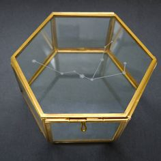 Personalised Glass Zodiac Constellation Jewellery Box. A beautiful glass hexagon box etched with the zodiac constellation of your choice.