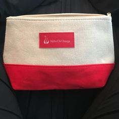 NEW Alpha Chi Omega Cosmetic Bag - red and beige Brand new, never been used. Alpha chi omega AXO Greek sorority. In perfect condition. Could be used for makeup and cosmetics or other items Bags Cosmetic Bags & Cases