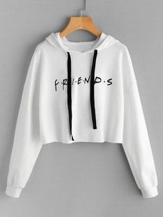 SHARE & Get it FREE | Drawstring Loose Letter Cropped Hoodie - White SFor Fashion Lovers only:80,000+ Items • New Arrivals Daily Join Zaful: Get YOUR $50 NOW!