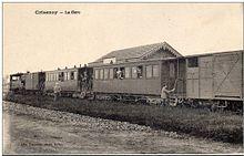 Un train à l'arrêt en gare de Champdeuil - Crisenoy au début des années 1920
