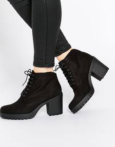 Image 1 ofVagabond Grace Black Textile Ankle Boots
