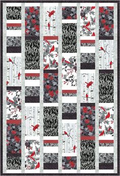 Larger rectangles wih another long block of stacked strips. Free Quilt Pattern: Woodsy Winter black-white, maybe a good layout for the red,black,white fabric I have been collecting! Free Quilt Pattern: Woodsy Winter black-white have some really cool fabr Strip Quilts, Panel Quilts, Easy Quilts, Quilt Blocks, Patchwork Quilt, Bird Quilt, Jellyroll Quilts, Colchas Quilting, Quilting Designs