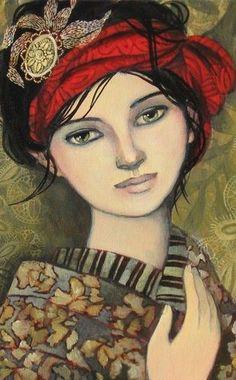 """Héléna-Feuillage"" - by artist ©Delphine Cossais - Geisha Girl http://delphinecossais.typepad.fr/blog/2008/10/un-autre-portait.html"