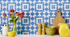 From patterned tile to wall coverings, we predict these home decor trends will be everywhere this year. Coastal Style, Coastal Decor, Hamptons Kitchen, Encaustic Tile, Diy Home Improvement, Home Decor Trends, Interior Decorating, Interior Design, House Styles