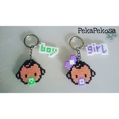 Baby keyrings hama mini beads by pekapekosa