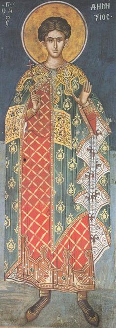 Άγιος Δημήτριος / Saint Demetrios Fresco, Byzantine Icons, Byzantine Art, Religious Icons, Religious Art, Historical Art, Orthodox Icons, Medieval Art, Mural Painting