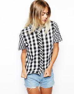 ASOS Boxy Crop Check Shirt in Black/White Gingham