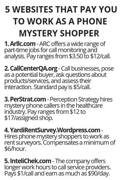 5 Websites That Pay ou To Work As A Phone Mystery Shopper - Wisdom Lives Here Ways To Earn Money, Earn Money From Home, Earn Money Online, Online Jobs, Money Tips, Money Saving Tips, Way To Make Money, Legit Work From Home, Work From Home Jobs