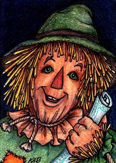 """I love """"The Scarecrow"""" from Oz - colored pencil and ink drawing by Karen Anne Brady"""