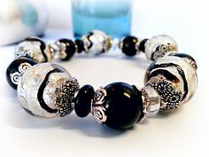 Black and White Harlequin Bracelet  Tibetan by LyndaHayesDesigns, $56.00