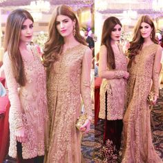 """""""Our favourite sisters Nimrah and Aqsa in #allgold #MinaHasan ensembles! We love how they have kept their outfits similar and their looks unique!"""""""