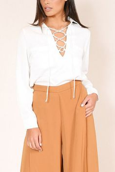 White Lace-up Design Lapel Long Sleeves Shirt