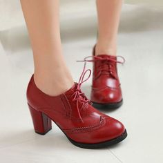 Oxfords High Block Heels Shoes Womens Wingtip Lace Up Pumps Brogues Retro Shoes in Clothing, Shoes & Accessories, Women's Shoes, Heels Lace Up Block Heel, Block Heel Shoes, Retro Shoes, Vintage Shoes, Stilettos, Lace Up Shoes, Shoes Heels, Shoes Uk, Tap Shoes