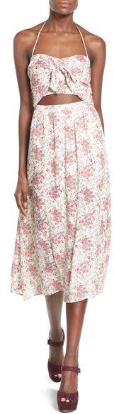 Wayf Floral Print Halter Midi Dress