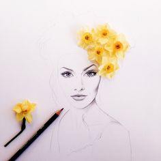 Taffeta Daffodil Flowers Hair Garland artwork and illustrations #5wayswithflowers by Georgie St Clair