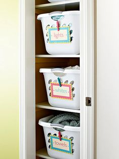 use wall opposite hanging clothes for laundry basket storage??  or even for folding clothes/sheets/towels. Great idea!!!