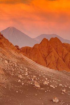 Valley of the moon  in the Atacama Desert  in Chile. The Atacama Desert is the m