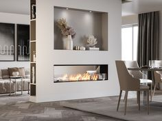 Home Fireplace, Living Room With Fireplace, Fireplace Design, Bioethanol Fireplace, Home Room Design, Home Interior Design, Living Room Designs, Living Room Partition Design, Room Partition Designs