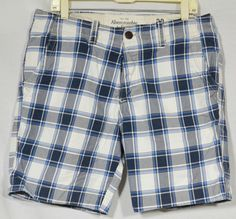 ABERCROMBIE & FITCH Men's Blue/White Plaid Shorts 32 Button Fly 4 Pockets Summer #AbercrombieFitch #CasualShorts