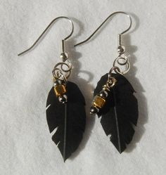 Repurposed motorcycle tire inner tube earrings on Etsy, $8.00
