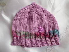 bonnet bébé lutin en coton doux satiné violet ou parme et une bande multicolore bleu ciel ,rose, marine : Mode Bébé par bebelaine