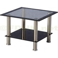 Black Glass Lamp Tables: £39.99 - Harlequin Glass Lamp Table is fitted with a transparent glass  tabletop with a,Lighting