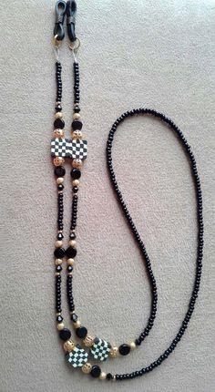 Handmade Black and White Check Checkered Beaded Eyeglass Chain Beaded Necklace, Beaded Bracelets, Eyeglass Holder, Beaded Jewelry Patterns, Eyeglasses, Fashion Jewelry, Jewelry Making, Band, Chain