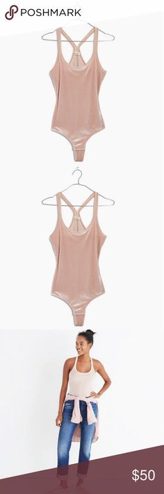 NEW! Madewell velvet racerback bodysuit PRODUCT DETAILS Sleek and sexy, this racerback bodysuit is made of stretchy, holds-you-in velvet. The no-VPL-please thong bottom makes it a perfect friend to high-rise jeans (hello, perfect party outfit). Fitted. Poly/elastane. Machine wash. Import. Madewell Tops