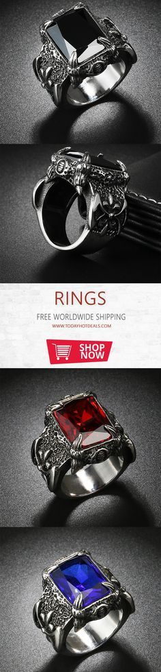 -= Dragon Claw Big Stone Ring =- Style: Punk || Metals Type: Stainless Steel || Material: Titanium Stainless Steel || Shape/Pattern: Dragon Claw || Quality: High Quality.