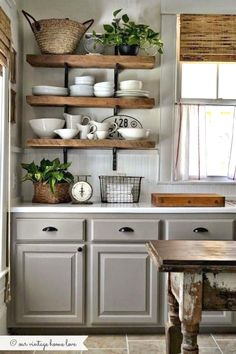 greige: interior design ideas and inspiration for the transitional home : Grey country kitchen. Home Decor Kitchen, Rustic Kitchen, Interior Design Kitchen, New Kitchen, Kitchen Ideas, Kitchen Decorations, Hickory Kitchen, Kitchen Planning, Funny Kitchen