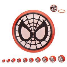 "Marvel Spider-Man Acrylic Screw Fit Plugs 2g-1/2"""