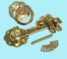 Gate Latch Solid Brass Classic Knob Set with Pull Gate Hinges, Gate Hardware, Gate Latch, Door Gate, Metal Gates, Wooden Gates, Classic Doors, Pull Chain, Door Knobs