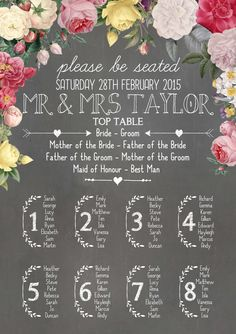 Swoon at the Moon - Floral Chalkboard - Table Plan
