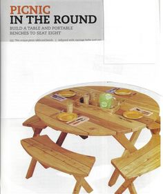 woodworking plans how to build picnic in the round table benches weekend project