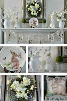 Spring Mantel Decorating Ideas-Blog Hop Our Crafty Mom 24 Bloggers Share Spring Mantels
