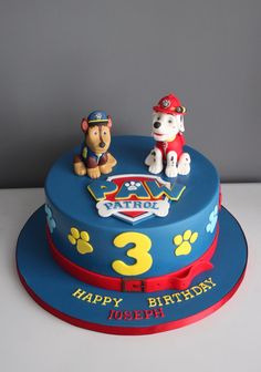 Paw Patrol Chase Cake, Bolo Do Paw Patrol, Torta Paw Patrol, Paw Patrol Birthday Theme, 3rd Birthday Cakes, Birthday Ideas, Colorful Birthday Party, Cakes For Boys, Themed Cakes